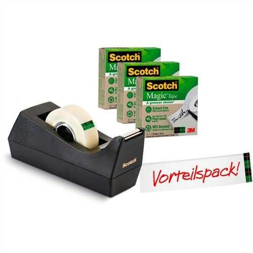 Scotch Tischabroller A greener choice, gefüllt, Kunststoff (RC), für Rollen bis 19 mm x 33 m, schwar