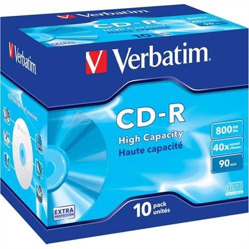 Verbatim CD-R, Jewelcase, einmalbeschreibbar, 800 MB, 90 min, 40 x (10 Stück)