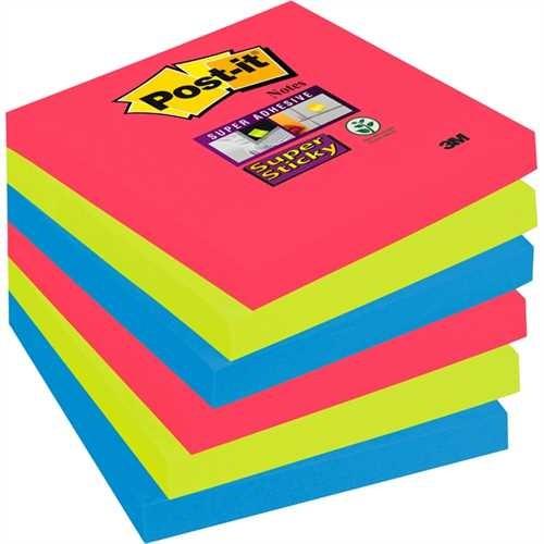 Post-it Haftnotiz Super Sticky, 76 x 76 mm, 3farbig sortiert, 90 Blatt (6 Blocks)