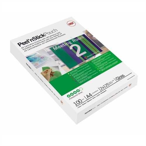 GBC Laminiertasche Peel'nStick™ Pouch, selbstklebend, A3, 426 x 303 mm, 0,075 mm, glänzend (25 Stück