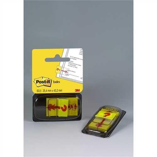 Post-it Haftmarker 680, mit Symbol, Fragezeichen, 25,4 x 43,2 mm, gelb, Druckfarbe: rot, 50 Blatt (1