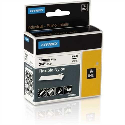 DYMO Schriftbandkassette, Rhino, Nylon, 19 mm x 3,5 m, schwarz auf weiß