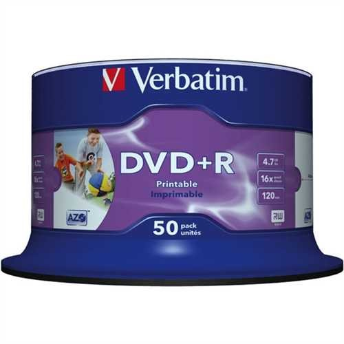 Verbatim DVD+R, keine ID, full printable, Spindel, 4,7 GB, 16 x (50 Stück)