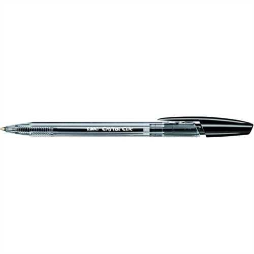 BIC Kugelschreiber Cristal Clic, Druckmechanik, 0,4 mm, Schreibfarbe: schwarz (20 Stück)