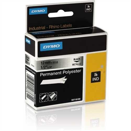 DYMO Schriftbandkassette, Rhino, Polyester, 12 mm x 5,5 m, schwarz auf metallic