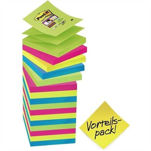 Post-it Haftnotiz Super Sticky Z-Notes, 76 x 76 mm, 4farbig sortiert, 90 Blatt (16 Blocks)