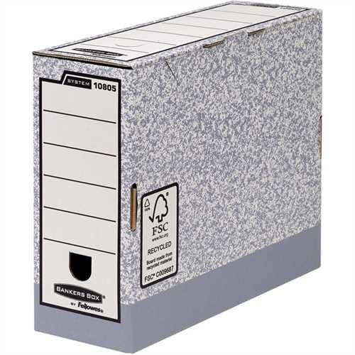 Bankers Box Archivbox, 10 St., Karton (RC), A4, 10 x 31,5 x 26 cm, grau/weiß (10 Stück)