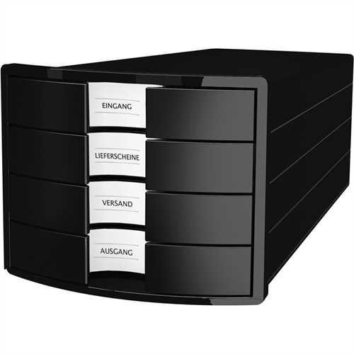 HAN Schubladenbox IMPULS, m.4 geschl.Schubladen, A4/C4, schwarz