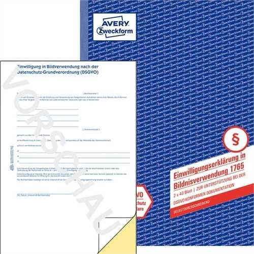 AVERY Zweckform Einwilligungserklärung, Bildnisverwendung, A4, 2fach, sd, 2 x 40 Blatt