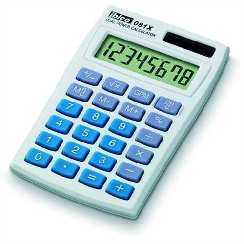 ibico Taschenrechner, 081X, Solar-/Batteriebetrieb, mit Schutzhülle, flaches Display, LCD, 8stellig,