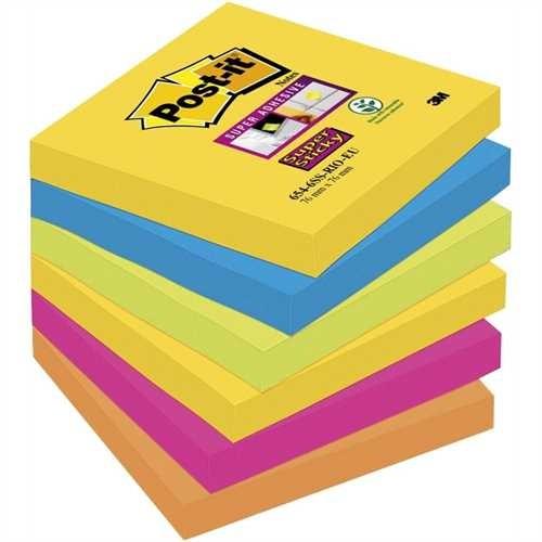 Post-it Haftnotiz Super Sticky, 76 x 76 mm, 5farbig sortiert, 90 Blatt (6 Blocks)