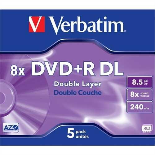 Verbatim DVD+R, Double Layer, Jewelcase, einmalbeschreibbar, 8,5 GB, 240 min, 8 x (5 Stück)