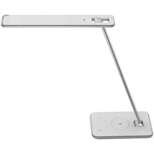 UNILUX Tischleuchte JAZZ, mit Tischfuß, LED, mit Dimmer, weiß/metallgrau