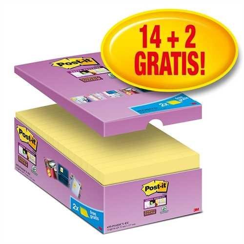 Post-it Haftnotiz Super Sticky, 127 x 76 mm, gelb, 90 Blatt (16 Blocks)