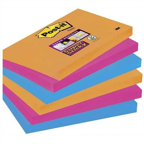 Post-it Haftnotiz Super Sticky Neon, 127 x 76 mm, 3farbig sortiert, 90 Blatt (6 Blocks)