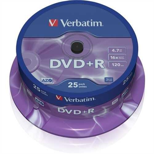 Verbatim DVD+R, Spindel, einmalbeschreibbar, 4,7 GB, 16 x (25 Stück)